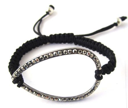 Black Lace Style Iced Out Tear Drop Bracelet with Beaded Disco Balls Macrame Shamballah
