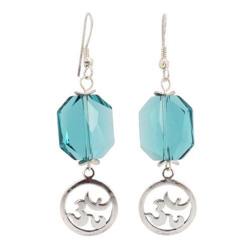 Large Teal Blue Geormetric Swarovski Crystal Bead and Sterling Silver Om (Aum) Dangle Earrings, #7466