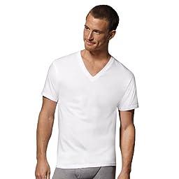 6 Hanes Men\'s White V-Neck ComfortSoft Tshirts (XX-Large)
