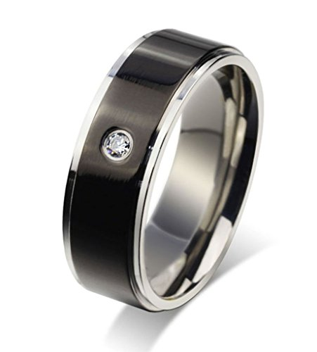 mens-womens-stainless-steel-single-black-cubic-zirconia-inlaid-ring-silver-width-8mm-x-1-2-by-aienid