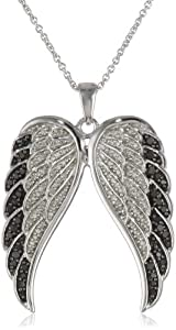 Sterling Silver Black and White Angel Wings Diamond Pendant Necklace (1/2 cttw, I-J Color, I2-I3 Clarity), 18