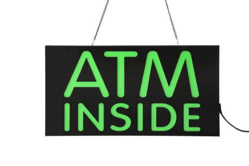 Displays2Go Led Illuminated Sign With Atm Inside Message, Green (Jledatmin)