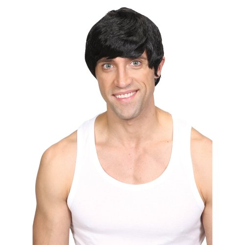 Wicked Costumes Mens Short 60s style Wig Fancy Dress Costume Accessory - Black