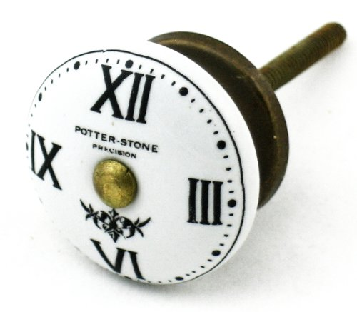 Watch Face Ceramic Cabinet Knobs, Cupboard Drawer Pulls & Handles Set/6Pc ~ K36 Hand-Painted Vintage London Watch Face Knobs With Antique Brass Hardware. Ceramic Knobs, Handles & Pulls For Dresser, Drawers, Cabinets & Vanity front-1034289