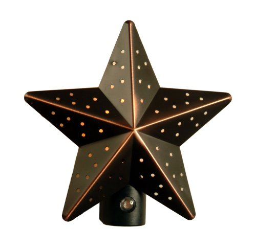AmerTac 75050VB Aged-Bronze Tin Star Auto-On/Off Nite Lite