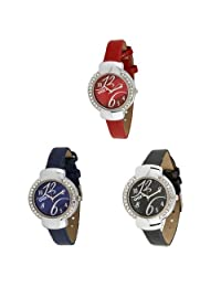 Oura Round Multicolor Dial Casual Wear Watch With Love For Women Combo OF 3pc