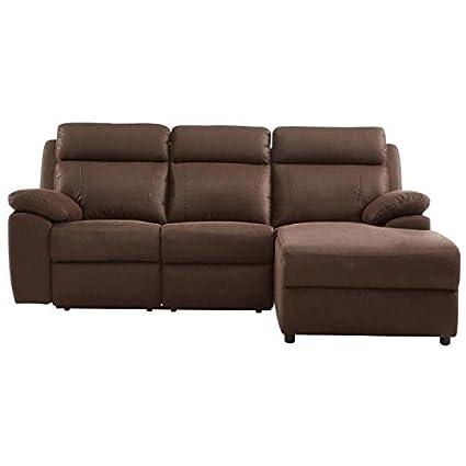 ANDREW Canapé de relaxation angle droit 3 places - Tissu effet nubuck marron - Classique - L202 x P150 cm