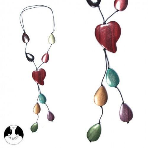 sg paris women necklace long necklace 74 cm multicolor wood