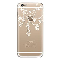 Hamee Designer Case from Japan Thin Fit Crystal Clear Transparent Protective Plastic Hard Cover for iPhone 6 / 6s (Teddy Bear Ornaments / White)