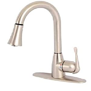 Glacier Bay New-Touch Single-Handle Pull-Down Sprayer Kitchen Faucet in Brushed Nickel