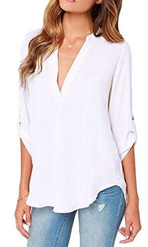 Yonas Women's Chiffon Shirt Cuffed Sleeve V Neck Blouse Tank Top(SIZE XL/WHITE) (Ruffled White Pettiskirt)