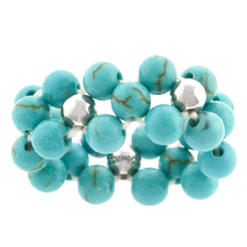 Sterling Silver Turquoise Beaded Stretch Ring