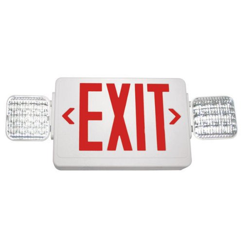 Double Face - Led Combination Exit Sign - Thermoplastic - Adjustable Lamp Heads - Red Letters - 120/277 Volt And Battery Backup - White - Exitronix Vled-U-Wh-El90
