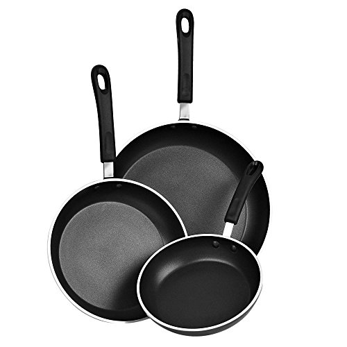"""Cook N Home 3 Piece Frying Pan/Saute Pan Set with Non-Stick Coating Induction Compatible Bottom, 8""""/10""""/12"""", Black"""