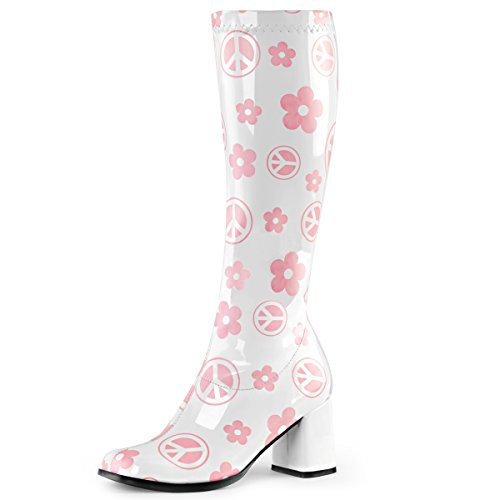 Womens White Boots Pink Flowers Peace Signs Go Go Boots Knee High 3 Inch Heels Size: 7 (White Gogo Boots Cheap)