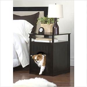 Espresso Multifunctional Kitty Litter Box Stand