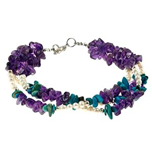 Handmade Purple Amethyst & Blue Turquoise Bracelet With Silver Beads