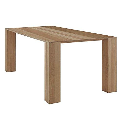 Excellent 618947 Tisch, Wildeiche Massiv, 75 x 100 x 200 cm, weiß geölt