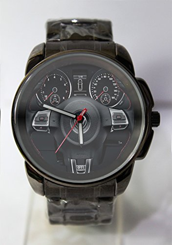 Hot New Design Steering Wheel VolkSwagen VW GTI Custom Metal Sport Watch Black Alloy