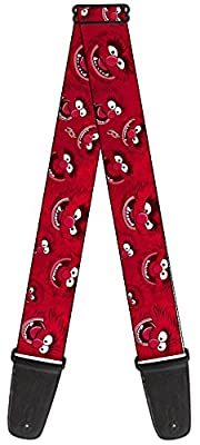 Disney Theme Nylon Guitar Strap - Muppets - Animal Red Face Expressions Repeating