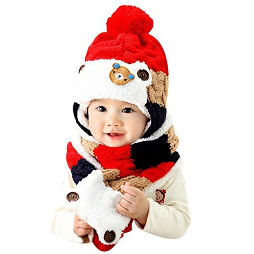 TAORE Baby Girls Boys Winter Earflap Hat Scarf Hood Scarves Skull Caps (Red)