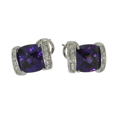 Stud Earrings w/Amethyst & White CZs