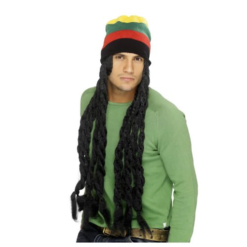 Perücke + Rasta-Mütze
