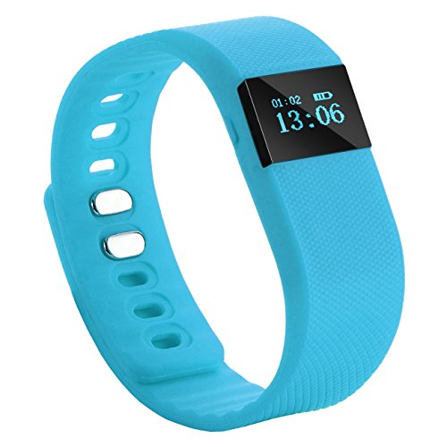 Tera TW64 Bluetooth Health Smart OLED Bracelet Wristband Watch Pedometer Cell Phone Mate Blue with Sleep Monitoring Calorie Calculation Distance Measurement Call Reminder