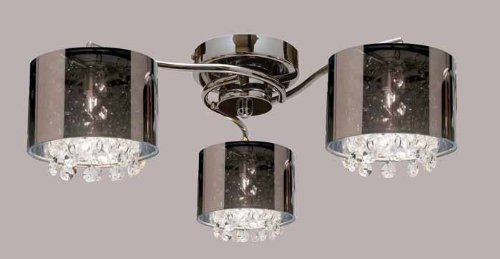 Endon Chrome 3 Light Ceiling Flush /Smoked Shade And Glass Drops/Max 3X40W G9 Lamp Included