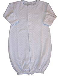 Kissy Kissy Baby Dots Convertible Gown-White with Blue Dots-Preemie