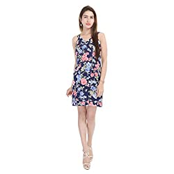 Beautiful Viscose Flower Print Blue Dress