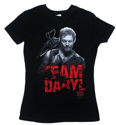 The Walking Dead Team Daryl Juniors Girly T-Shirt, Black, Large