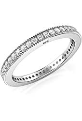 2MM Sterling Silver 925 CZ Cubic Zirconia Eternity Wedding Band Ring