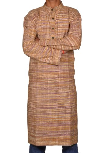 Mens Casual Cotton Indian Khadi Long Kurta Fabric For Winter & Summers Size-3XL