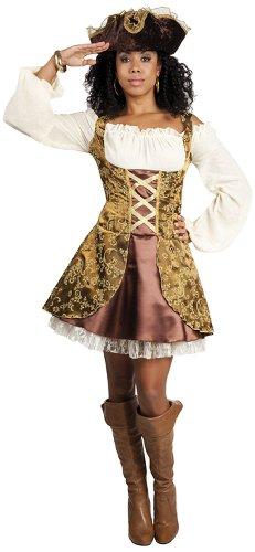 87796 - Erwachsenenkostüm Piratin, Kleid Gröߟe 44 / 46, mit Hut