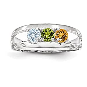 14k white gold polished 3 mothers ring
