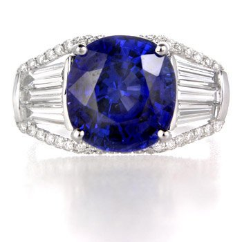 Diamond &#038; Blue Sapphire 18k White Gold Right Hand Ring