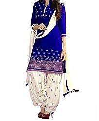 Look Smart Women's Polycoton Unstitched Dress Material (BANNO BLUE_Multicolor_Free Size)