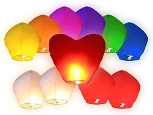 Lot de 11 Lanternes volantes multicolores inclus 1 coeur rouge géant pour fête mariage amoureux soirée couple cœur saint valentin