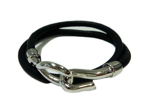 Double leather bracelet genuine leather two-Bangle (black)