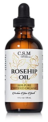 100% Organic Rosehip Oil (4oz) - Amazing Anti- Aging Skin Care Product to Repair Dry Skin With Antioxidants, Vitamin A, and Vitamin C