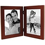 """Linear Dark Walnut Picture Frame 5x7"""" Double Vertical"""
