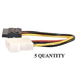 5 Quantity x Storite 6inch 4 Pin Molex to SATA Power Cable Adapter