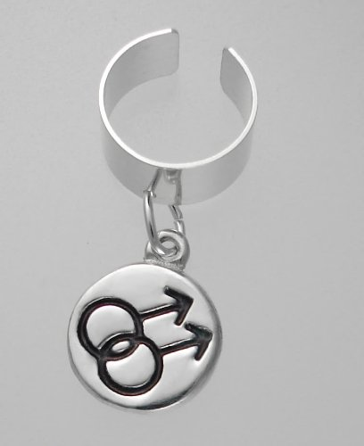 Male Gay Pride Symbol on an Ear Cuff in Sterling Silver