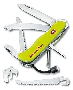 Victorinox - Couteau Suisse de Poche Special Secours - 15 Pieces - Victorinox RescueTool 0.8623.N - Fluo + Etui Nylon