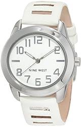 Nine West Women's NW/1279WTWT Round Silver-Tone White Strap Watch