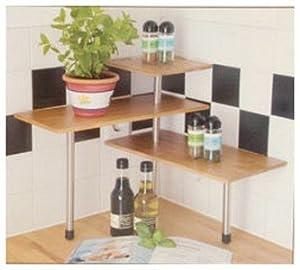 mini etagere d 39 angle en bois de bambou pour ustensiles et epices de cuisine cuisine. Black Bedroom Furniture Sets. Home Design Ideas