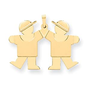 14k Solid Engravable Double Boys Charm