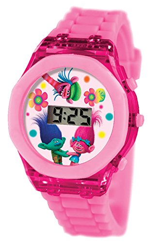 Joy Toy 65674 Trolls LCD Clock with Flash Light in an Oval Packaging