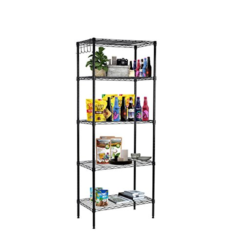 LANGRIA 5 Tier Wire Storage Rack Shelving Unit for Oragnzation with Adjustable Leveling Feet 275 lbs Weight Capacity, 23.6''(W) x 13.8''(D)x 51.9''(H),Black (Metal Storage Shelving Unit compare prices)